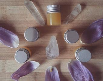 Sunshine Lip Balm - Small Glass Vile - All-Natural Organic Calendula Yarrow St. John's Wort Beeswax Lip Balm