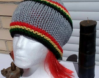 Light grey Rasta hat, Rasta light gray cap.