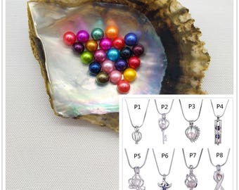 Round Akoya Pearl Oyster + Cage Pendant,Make Jewelries Yourself,TSNOT-AR-CP