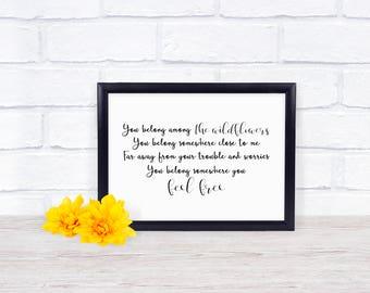 You Belong Among The Wildflowers - You Belong Somewhere You Feel Free - Tom Petty - Digital File