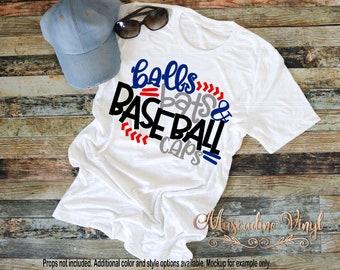 Balls Bats & Baseball Caps T-Shirt or Raglan, *short sleeve, long sleeve, or raglan*, Baseball Season, Baseball Tee