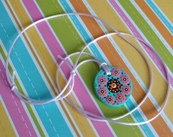 FREE SHIPPING / Hand Painted Necklace / Mandala / Dot Jewelry / Mandala Art / Dot Painted Pendant / Painted Wooden Necklace #A8