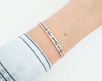 She Believed She Could So She Did Bracelet // Personalized Mantra Bracelet + Friendship Bracelet + Feminist + Mantra Bracelet + Gift for her