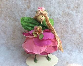 Summer Fun Pink Fairy, Spring Fairy, Flower Petal Fairy, Fairy, Collectible Fairy, Fairy Doll, Fairy Gift Doll, Woodland Fairy, PixieDust
