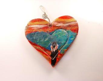 Ceramics, ceramic heart, ca. 6 x 6, edvard munch, ceramic House, gift for her, heart, hanging decorations, home décor
