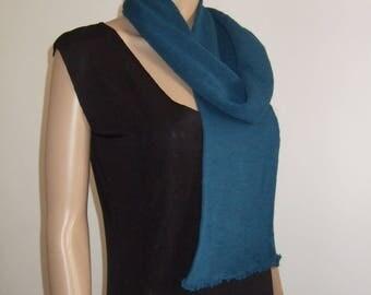 P' head scarf in beautiful peacock blue Merino yarn dark soft