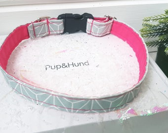 Dog collar & lead set/ pink dog collar/ pink dog lead/ grey collar and lead/ pink collar and lead/ grey dog collars / small dog collars