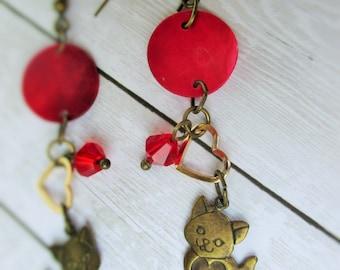 Brass Kittens & Red Ball Earrings