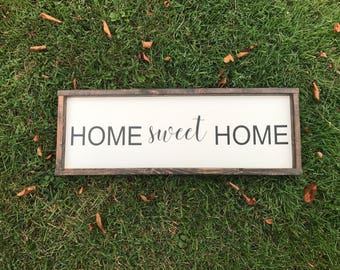 Home Sweet Home Wood sign, Framed Sign, Rustic Home Decor