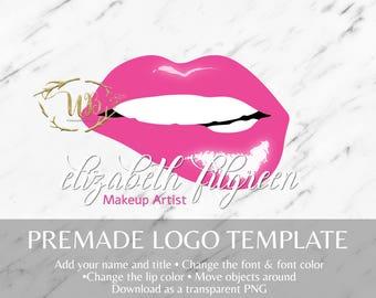 Glossy Biting Lip Logo|LipSense Logo|LipSense Template|Makeup Logo Template|Makeup Artist|Pre-made Logo|Lips Logo|Custom|Watermark|Instant