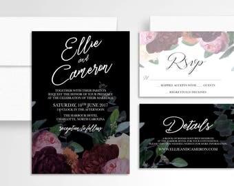 Romantic Moody Floral Wedding Invitation // Romantic Invitation Suite // Wedding Invitations // Wedding Stationery // Dark // Marsala