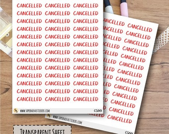 Clear Cancelled Word Stickers  || CS001 || Planner Stickers