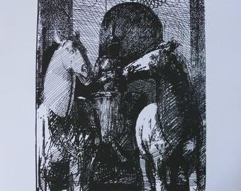 The Chariot, Tarot, signed limited edition screen print A3 artist Julian Gordon Mitchell
