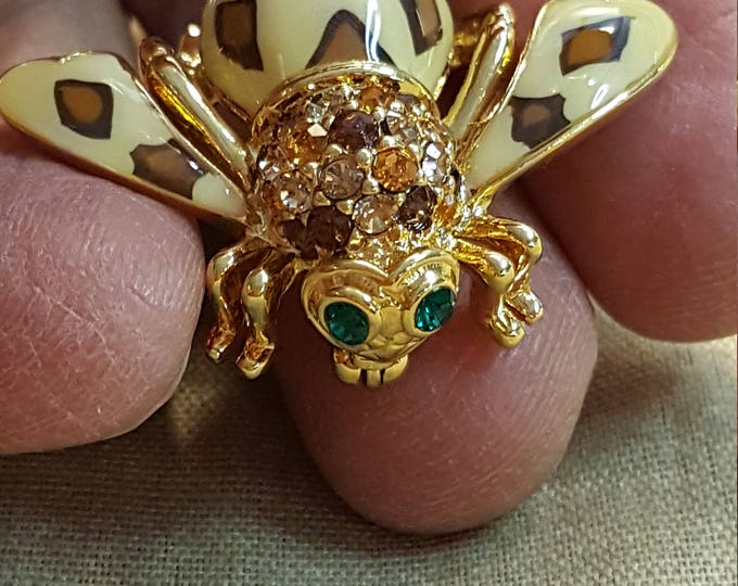 Joan Rivers Jungle Leopard Bee Emerald Eyes Sparkly Brooch Pin Goldtone and Enamel Bumble Bug