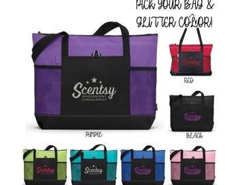 authorized Scentsy vendor, glitter Scentsy tote bag, Scentsy tote bag