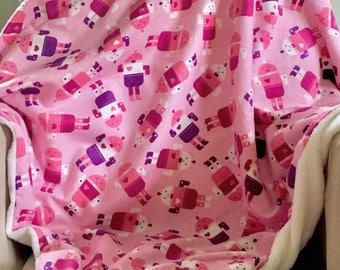 Pink Baby Blanket, Stroller Blanket, Baby Girl Blanket, Toddler Girls Blanket, Toddler Blanket, Science Blanket, Girl Baby Shower Gift
