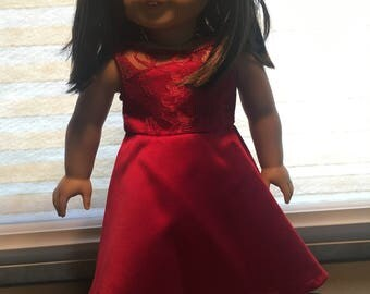 """Red party dress for 18"""" doll"""
