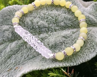 Lemon Jade/Rock Crystal Quartz Yoga Mala Beaded Bracelet. Healing Natural Gemstone Bracelet. Stretch Bracelet. Good Fortune Bracelet.