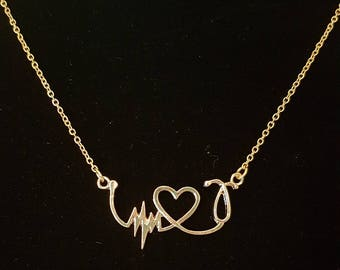 Gold Heart and Stethoscope charm necklace