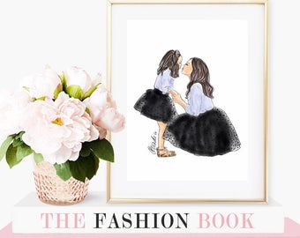 Black Tulle Skirt Mother and Daughter Fashion Illustration, watercolour illustration, watercolor, fashion print, fashion art, gift idea
