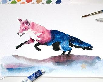 Galaxy Fox Watercolour Painting (ORIGINAL)
