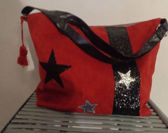 tote bag, Tote, Burgundy shoulder and star glitter
