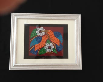 Mola Hand Made in Panama Two Humming Birds in Glass Frame Original Art Form