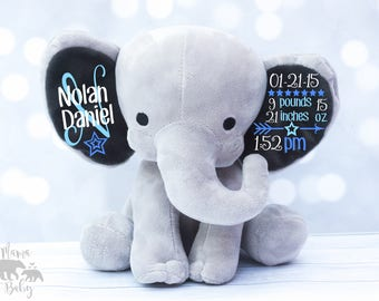 Baby Boy's Birth Stat Elephant,  Keepsake Elephant, Birth Announcement Elephant, Monogrammed Elephant, Newborn Gift, Personalized Elephant