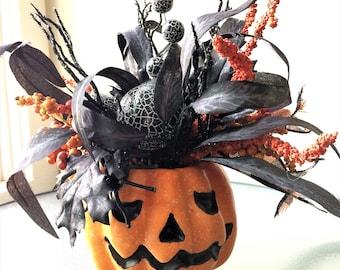 Pumpkin Head Flower Arrangement, Silk Flower Centerpiece, Artificial Arrangement, Small Silk Flower Arrangement, Table Decor, Fall Flowers