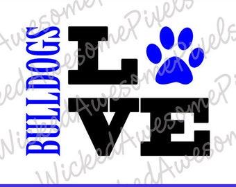 Bulldogs svg, School Team svg, Bulldog Love, Bulldogs Cut File, School Sport svg, Bulldogs Iron On, Football svg