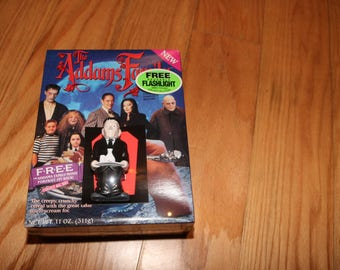 Addams Family Cereal (1991) LURCH Flashlight Sealed Box Ralston 1990s Morticia Gomez Pugsley Thing Cousin It Coffin Car Adams Haunted House