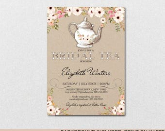 Bridal Shower Tea Party Invitation,Bridal Shower Invite, Vintage Wedding Shower Invitations,Wedding Printable,PDF Instant Download| VRD451AF