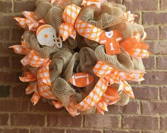 Orange and White Football Team Wreath