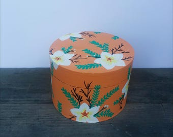 Hand Painted Round, Wooden Box: Peach and White Floral Design