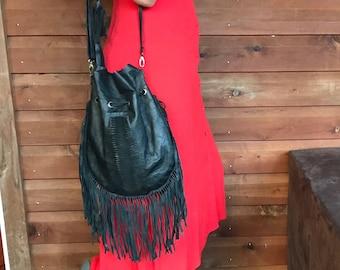 Bohemian Legitime Black Leather Bag... Free Shipping