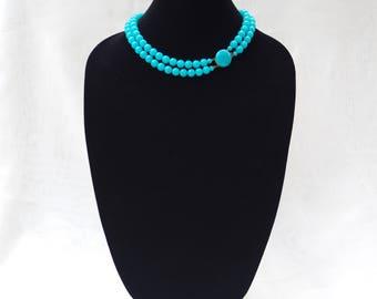 VINTAGE Signed JAPAN Aqua Blue Double Strand Princess Necklace