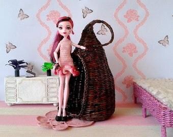 Miniature Fairyland home, white romantic Cupid chair. Nikki britt dolls hanging. Celebrate yourself, rustic valentine. 1:12 scale fairy home