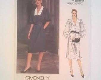 """Givenchy Designer Pattern - Vogue Patterns Paris Original 1140  - Dress -- Sizes 12, Bust 34"""" - Uncut"""