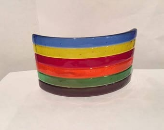 Fused Glass Curved Rainbow