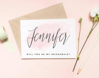 Custom name Will you be my bridesmaid? Bridesmaid proposal card, Maid of honor proposal card, proposal card, wedding card / SKU: LNBM27