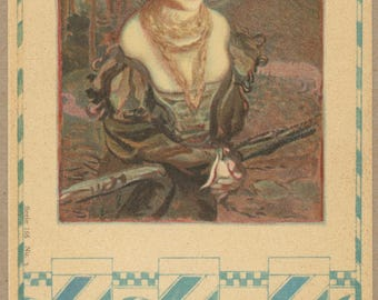The Fence at the Wood's Edge | Lady Portrait  Early 1900's French Art Postcard | Jugendstil  Art Nouveau | Turn of the Century | Victorian