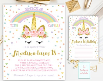 Unicorn Time Capsule Sign, Time Capsule Sign First Birthday, Time Capsule First Birthday+Matching Note Cards, Magical Unicorn