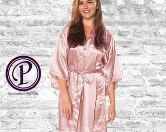 Light Pink Satin Kimono Bridesmaid Robe, Monogrammed Robes, Embroidered Robes, Wedding Day Robes, Bridesmaid Gift, Bridal Robes, Satin Robes