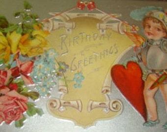 Cute Vintage Valentine Postcard (Knight In Armor)