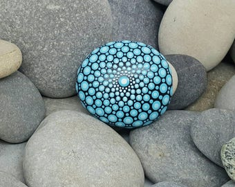 Blue Mandala Stone - Painted Rock - Mandala Rock - Mandala Art - Meditation - Pierre Mandala - Hand-Painted Stone - French Riviera