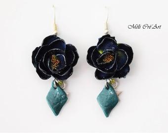 Midnight Blue rose flower Silver earrings