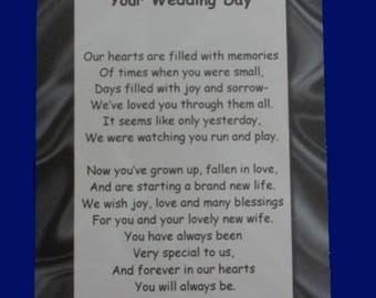 My Our Son On Your Wedding Day Poem Pocket Token Gift Set Parents