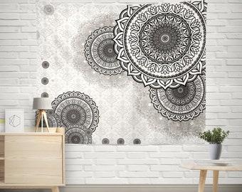 Boho Tapestry, Bohemian Tapestry, Mandala Tapestry, Mandala Wall Decor, Hippie Tapestry, Indian Tapestry,mandala wall hanging,Gray Tapestry
