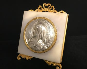 Marble/Brass/Sterling Silver Plaque