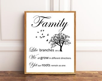 Family, Like Branches on a Tree, We all grow in different directions, Yet are roots remain as one,